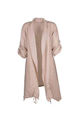 M Made in Italy - Women's Long Linen Jacket (XL) Taupe
