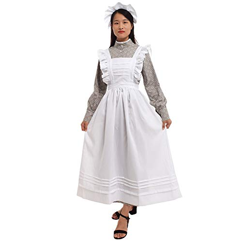 GRACEART Women Pilgrim Dress Victorian Maid Costume with Apron 100% Cotton (Grey Floral X-Large) -