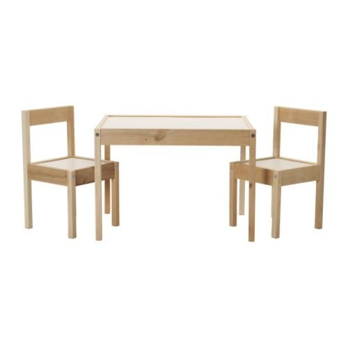 LATT Children's table with 2 chairs, white, pine by Sold By Photowall Shop