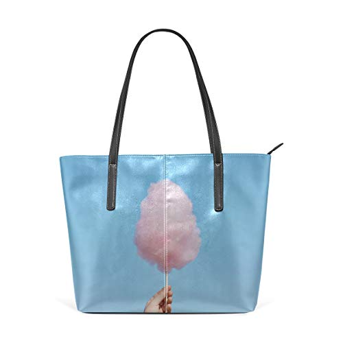 (Laptop Tote Bag Different Color Realistic Cotton Candy Large Printed Shoulder Bags Handbag Pu Leather Top Handle Satchel Purse Lightweight Work Tote Bag For Women Girls)