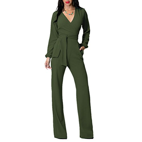 ruideng-1-pc-long-sleeve-v-neck-belted-flares-pant-jumpsuit-romper-for-women-l-army-green