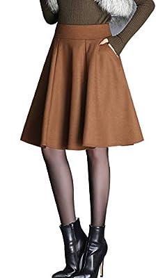 chouyatou Women's Basic A-Line Pleated Knee Length Midi Wool Skater Skirt