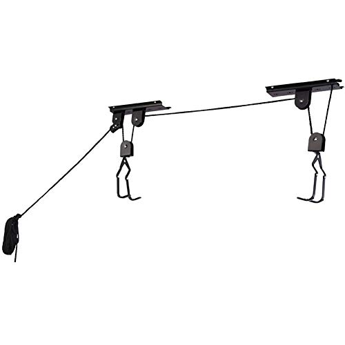 Bike Hoist Bicycle Lift for Garage Ceiling Storage, Heavy Duty Mountain Bicycle Hanging Rack with 3 Pulley and 45 ft Adjustable Rope | 100 lb Capacity