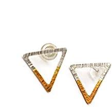 Silver & Gold Geo Triangle Earrings