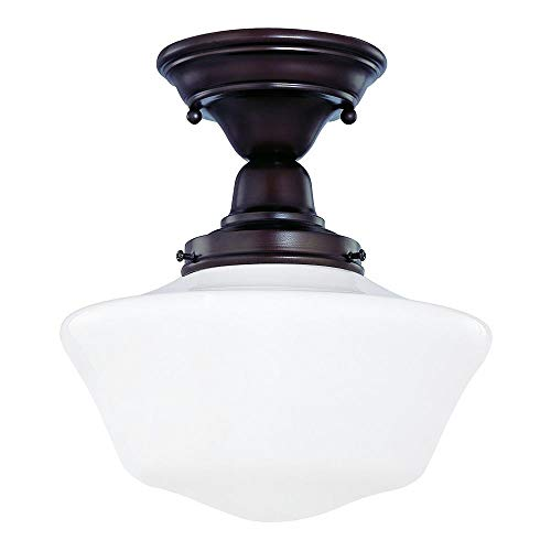 (10-Inch Schoolhouse Semi-Flush Ceiling Light with Opal White Glass and in Bronze Finish)