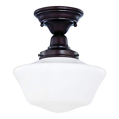 10-Inch Schoolhouse Semi-Flush Ceiling Light in Bronze Finish by Design Classics