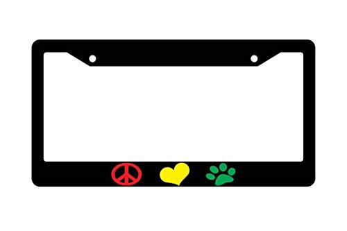 - Peace Love Paw Logos Universal License Plate Frame for Women/Men, Custom Funny Humor Aluminum Metal License Plate Holder, Auto Car Tag for US Standard