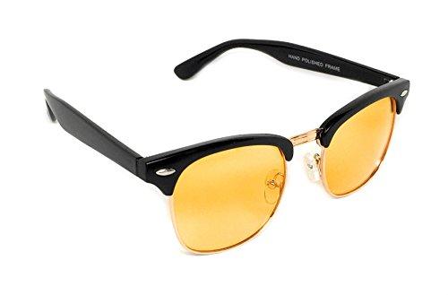 WebDeals - Vintage Classic Half Frame Horn Rimmed Browline Design Sunglasses (Black, Gold / - Vintage 60s Sunglasses
