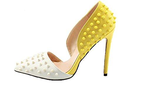 Calaier Dames Catxie Punt-teen 12cm Stiletto Instapper Sandalen Schoenen Geel Wit