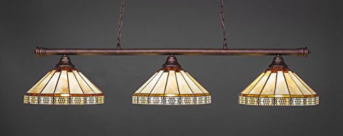 - Toltec Lighting 373-BRZ-964 Oxford - Three Light Billiard, Bronze Finish with Honey/Brown Mission Glass