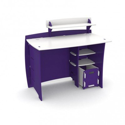 Legare Kids 43 in. Desk with Shelf and File Cart - Purple and White by Legare