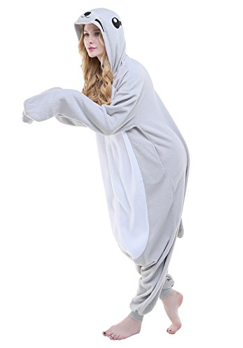 Newcosplay Adult Onesie Sloth Costume Halloween Pajamas Cosplay Costume (L, gray seals)