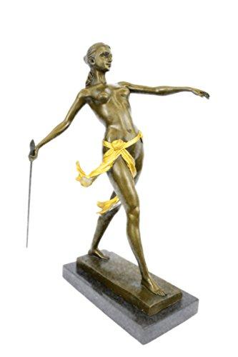 Handmade European Bronze Sculpture Art Deco Nude Female Gilt Diana Hunter...