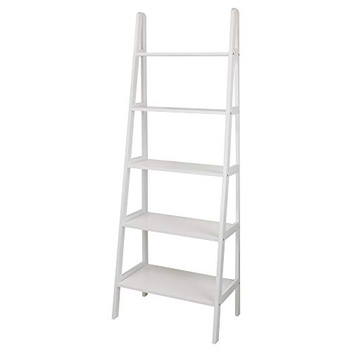 (Casual Home 176-51 5-Shelf Ladder Bookcase, White)