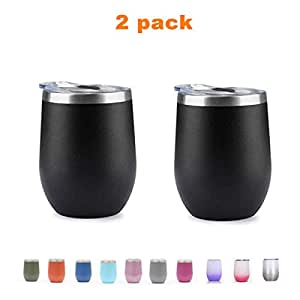 2pcs 12 Ounce Stemless Wine Glass Tumbler with Lid Stainless Steel Double Wall Vacuum Insulated Travel Cup (Black)