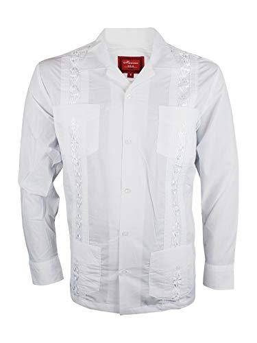 (Ginoken Guayabera Men's Cuban Style Bartender Wedding Button Up Long Sleeve Dress Shirt White)