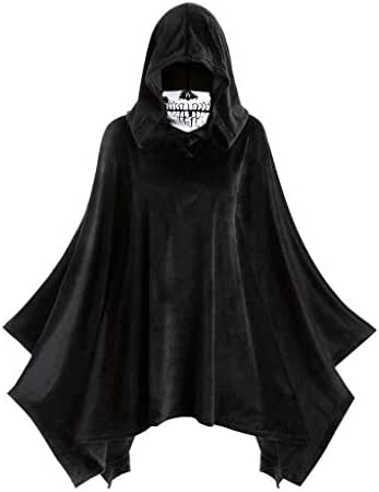 Trench Coats for Women/Men Witch Halloween Skull Mask Hooded Vintage Cloak Asymmetric Drape Shawl Hood Jacket