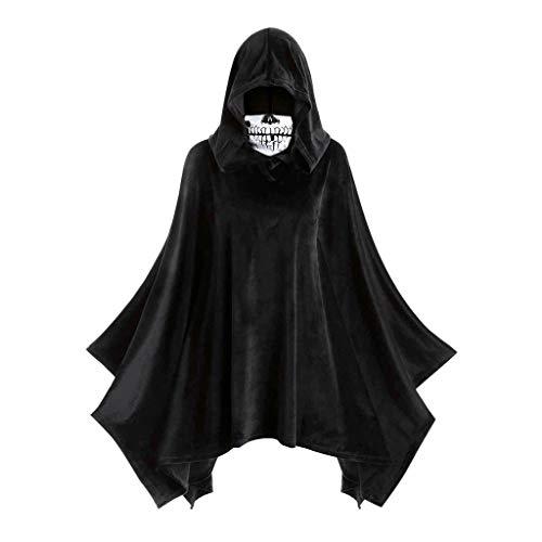 kitt Women Hooded Cloak Adult Velour Skull Mask Halloween Party Cosplay Cloak (Black, XXL)