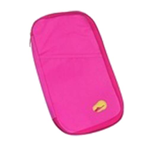 Storage Container for Girls, Multifunctional Large Capacity Travel Ticket Bill Cash Card Passport Storage Bag - Rose Red ()