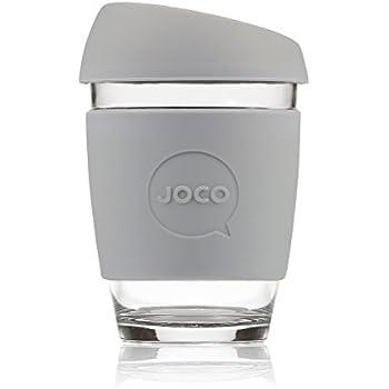 JOCO Glass Reusable 12oz Coffee Cup (Cool Grey)