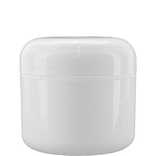 (12 pack) 4 oz. White Plastic Double Walled Jar with White Dome Cap (70/400)