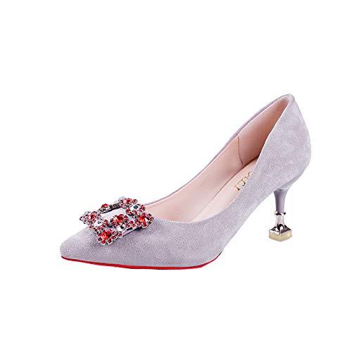 De De De De Yukun Zapatos de Alto tacón Mujer Alto Tacón Tacón alto Acentuados De zapatos De Gray De Aguja Zapatos Pedrería Las Mujeres Tacón wHvTnxH8q