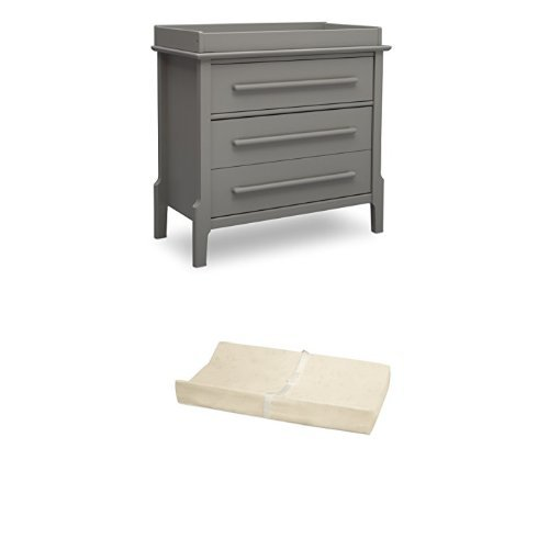 Serta Mid Century Modern 3 Drawer Dresser with Changing Top, Grey  and Simmons Kids Beautysleep Naturally Contour Pad