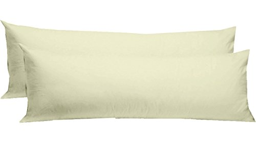 Cotton Craft - 2 Pack Body Pillow Cover Protector - 220 Thread Count Sateen Weave - Ivory - 21x54-100% Pure Combed Cotton Construction - Supersoft Comfort - No Zipper - Pillow Not Included
