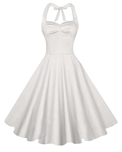 Anni Coco Women's Halter Polka Dots 1950s Vintage Swing Tea Dress - Large - 2nd - Creamy White (Girls Wedding Dress Costume)