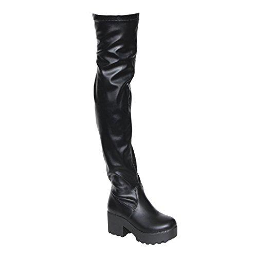 Beston EJ57 Women's Lug Sole Platform Heeled Stretchy Over The Knee High Boots, Color:BLACK, (Knee High Leather Heels)