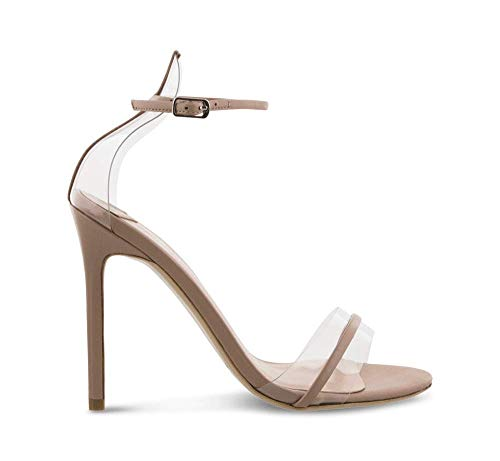 (Tony Bianco Kosumi Skin Capretto - Heels with Leather Open Toe Dress Sandal with a Stiletto Heel | Leather and Clear Two Strap)