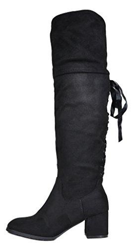 TRAUM-PAAR-Frauen Overknee-Schenkel-hohe niedrige Block-Ferse-Aufladungen Amus-schwarz