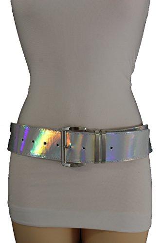 Stretch Patent Buckle Belt (TFJ Women Fashion Wide Belt Faux Leather Metal Buckle Plus Size L XL (Silver metallic - patent faux)