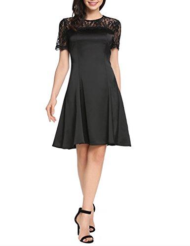 ACEVOG Women's Elegant Fit Flare A-Line Pleated Lace Club Cocktail Party Dress(Black (Satin Lace Dress)