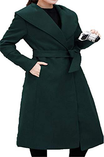 Giacca Inclusa Grün Tasche Di Moda Cappotti Coat Pulsante Especial Donna Invernali Lunga Estilo Bavero Laterali Cintura Vento Manica qXPwBtwx