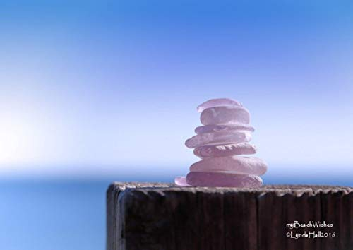 Sea Glass Photography- Purple Cairn, Beach Glass, Calming Coastal Decor