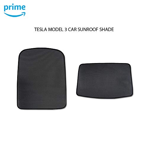 CoolKo Tesla Car Window Sun Shades UV Rays Protection for Model 3 - Top Roof and Rear Sunroof Shade [ Black ]