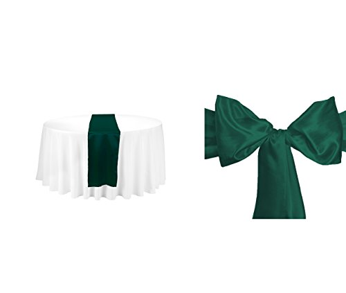 Elina Home Combo Satin Pack 1 Table Runner 12x108 inch & 5 Chair Bow Sash Wedding Banquet Kitchen HomeDecor (Hunter Green) ()