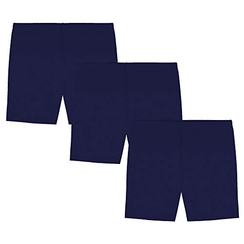 My Way Girls' Value Pack Solid Cotton Bike Shorts - All Navy - 12