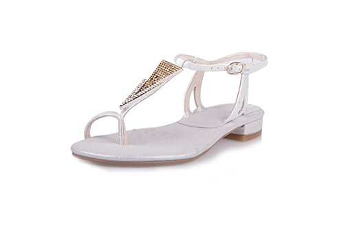Toe Low Split Frosted Buckle Solid heels White Women's AgooLar Sandals UFw5qR0n