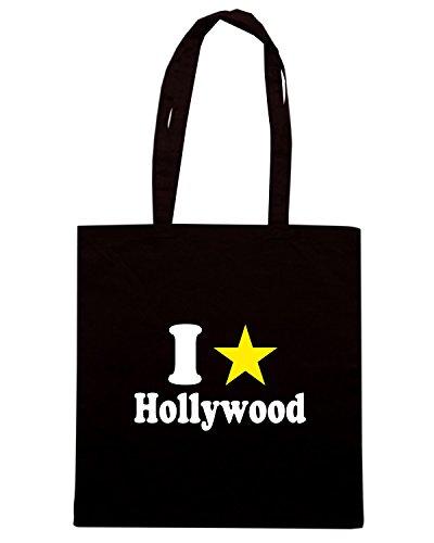 T-Shirtshock - Bolsa para la compra T0040 I LOVE HOLLYWOOD Negro
