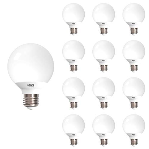 - Sunco Lighting 12 Pack G25 LED Globe, 6W=40W, Dimmable, 450 LM, 4000K Cool White, E26 Base, Ideal for Bathroom Vanity or Mirror - UL & Energy Star