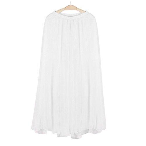 Longue Décontractée De Mode Femmes Chic Soie Blanc Marché Bon Mousseline En Jupe La Élastique Et Mer Plage Adeshop Taille Été Plissée Robe Jupes P0Xgvnn