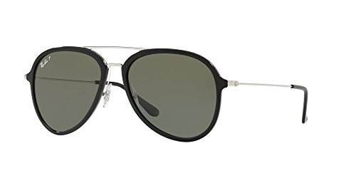 Ray-Ban RB4298 Aviator Sunglasses, Black/Polarized Green, 57 mm (Ray Ban Optiker)