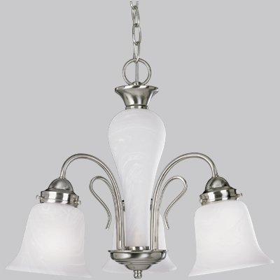 Progress Lighting P4390-09 3-Light Chandelier with Etched Alabaster Glass Shades and Center Column, Brushed Nickel (Bedford 3 Bulb)