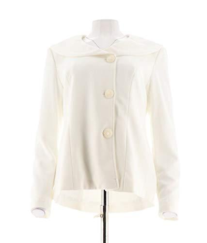 Collar Jacket Portrait - Dennis Basso Caviar Crepe Knit Portrait Collar Jacket Ivory 22W New A286049