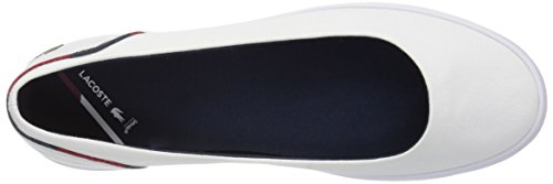 Slip-on In Lacca Bianca Da Donna Lacoste In Cotone / Nvy / Rd