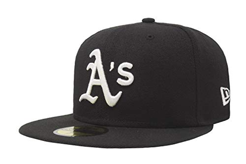 MLB Oakland Athletics Black with White 59FIFTY Fitted Cap, 7 1/8
