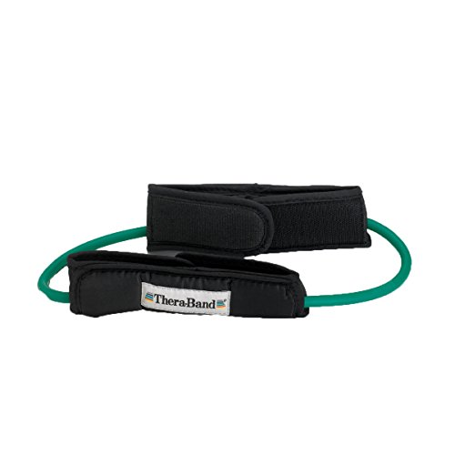 TheraBand Professional Latex Resistance Tubing with Handles For Physical Therapy, Lower Pilates, At-Home Workouts, and Rehab, 12 Inch With Padded Cuffs, Green, Heavy, Intermediate Level 1