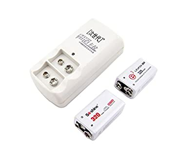 2Pcs 9V Battery + Charger Life Rechargeable 320Mah For Microphone Toy Soshine